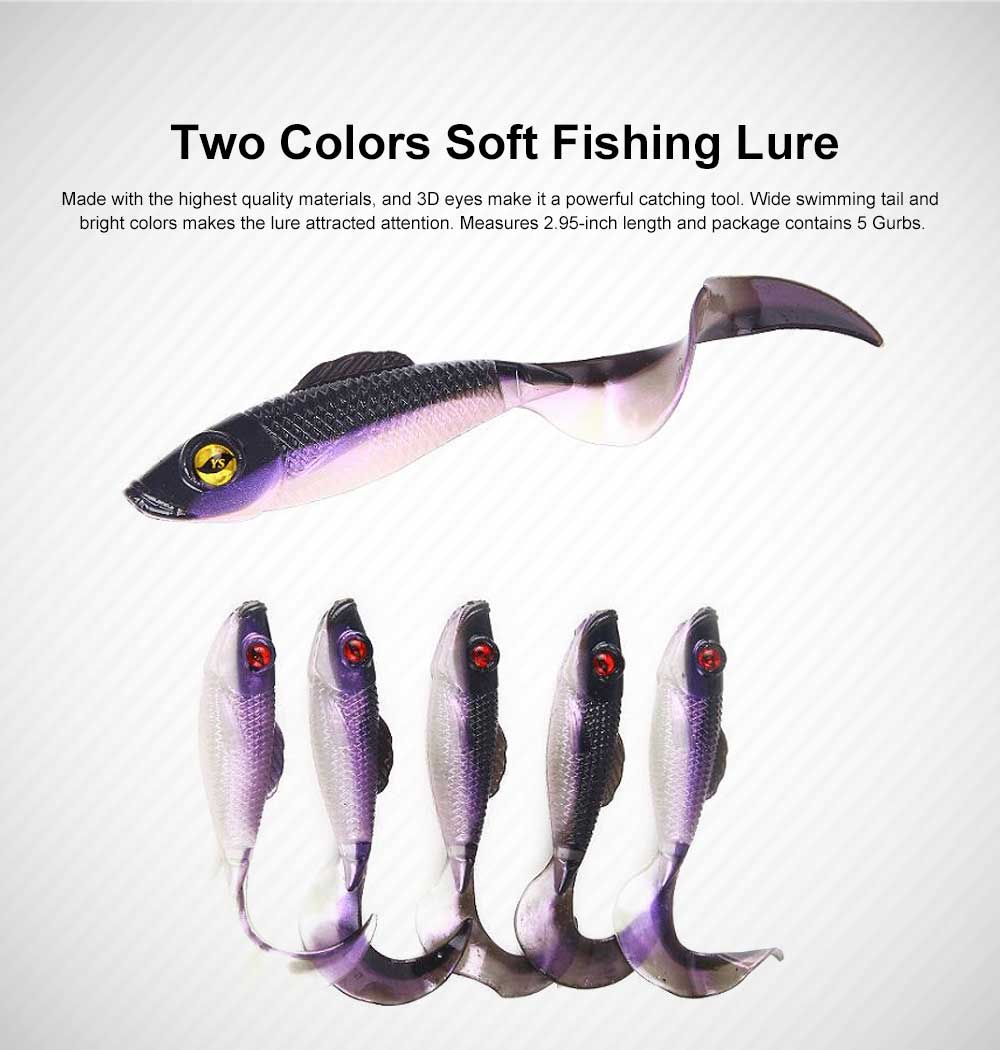 Two Colors Soft Fishing Lure Minnow Grub Artificial Fishing Lure Bionic Fishing Lure Baits Life-like Lure 0