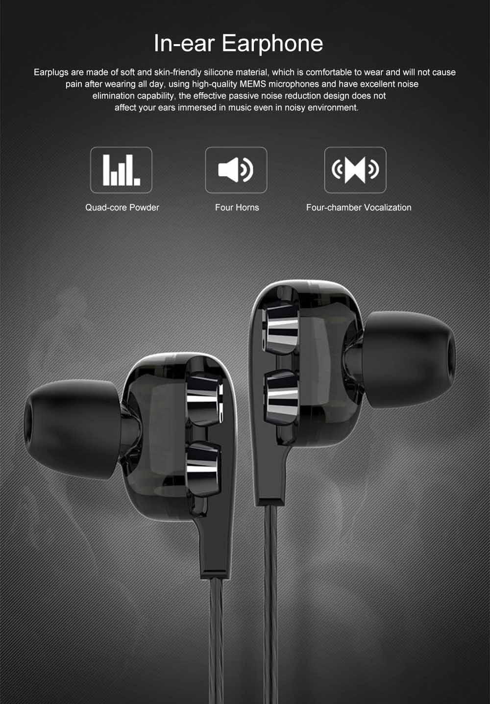 Langsdom D4 Universal Earphone Mega Bass Quad-core Powder Double Dynamic In-ear HiFi Earphone for Mobile Phone 0