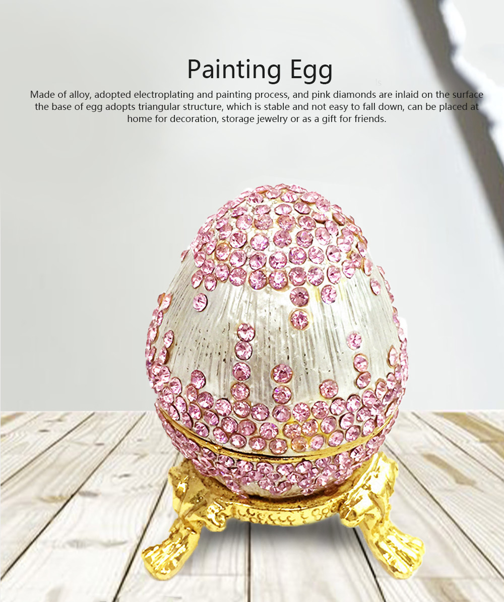 Decorative Arts and Crafts Alloy Jewelry Box Egg Painted Enamel Metal Jewelry Decoration Painting Egg Jewelry Box 0