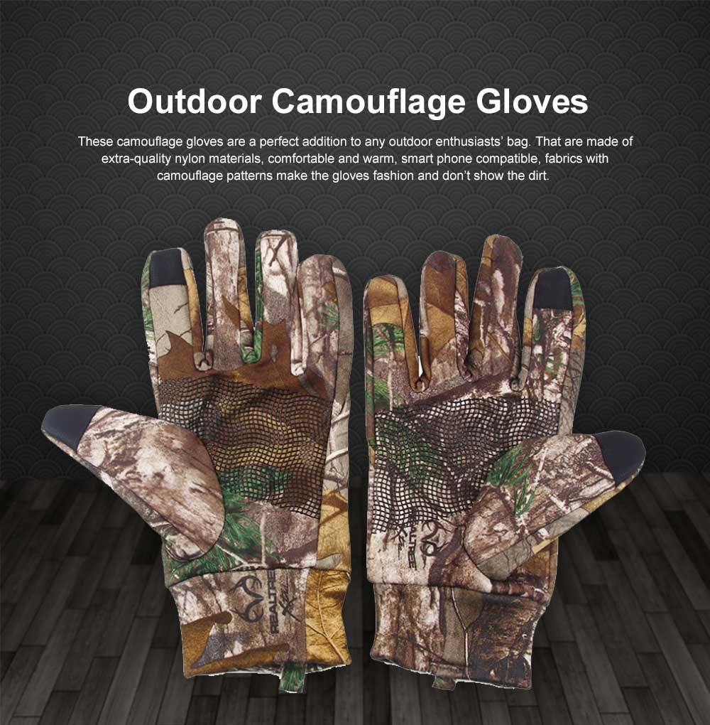 Outdoor Camouflage Gloves Thin Section Windproof Warm Gloves Anti-slip Fishing Gloves For Men, Women 0