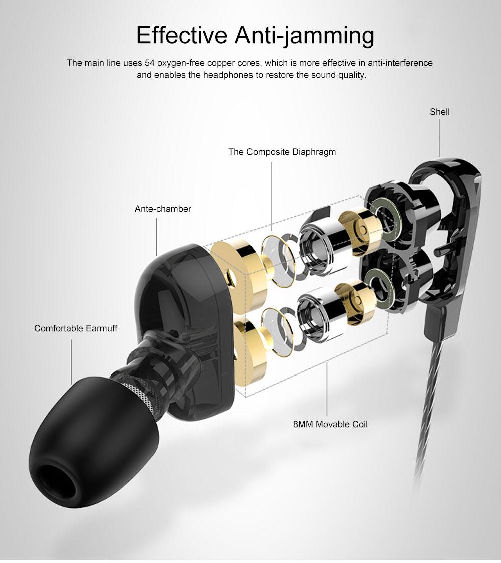 Langsdom D4 Universal Earphone Mega Bass Quad-core Powder Double Dynamic In-ear HiFi Earphone for Mobile Phone 2
