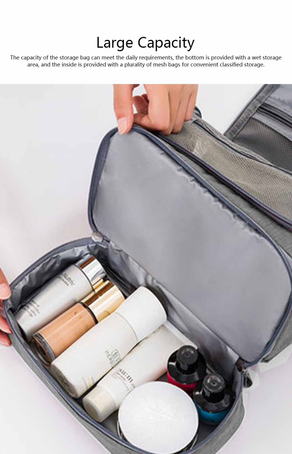 Storage Bag Dry Wet Depart Wash Bag Large Capacity Portable Waterproof Cosmetic Bag for Travel Business Trip 2