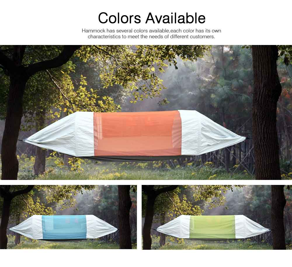 Outdoor Camping Hammock Nylon Material Enclose Style Parachute Cloth Anti-Mosquito Bed Net Ultraviolet-proof High-bearing for Two Peoples Hammock 5