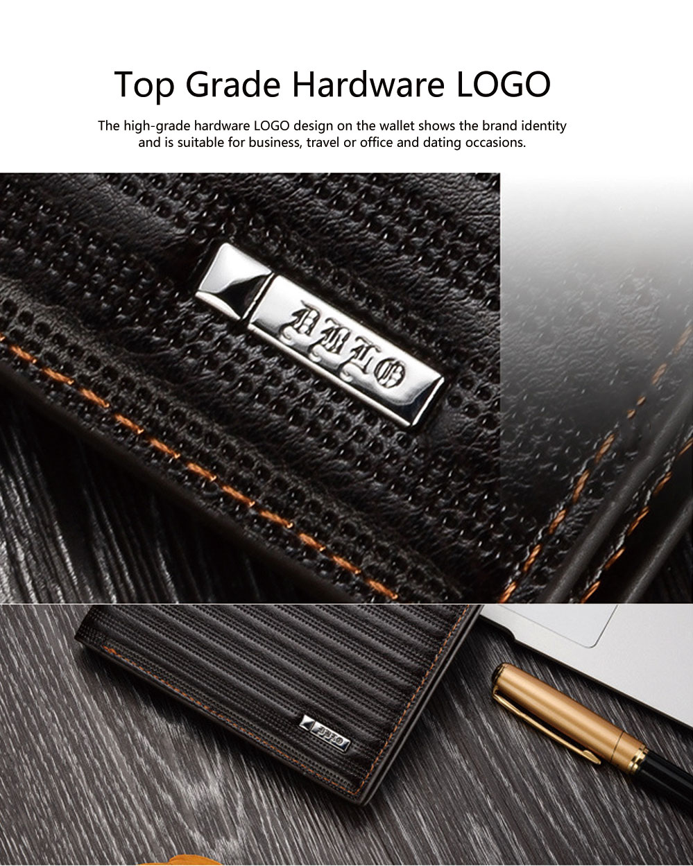 Top Grade PU Leather Business Short Wallet for Men ID Card Holder Handbag Slim Clutch Purse Wallet 5