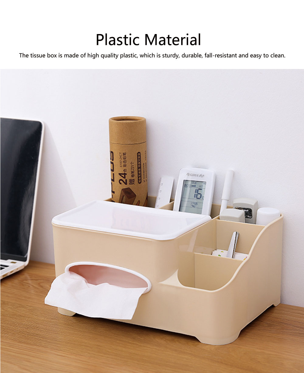 Storage Box Plastic Multifunctional Tissue Box Creativity Sorting Box for Remote Controller Sundries Container 1