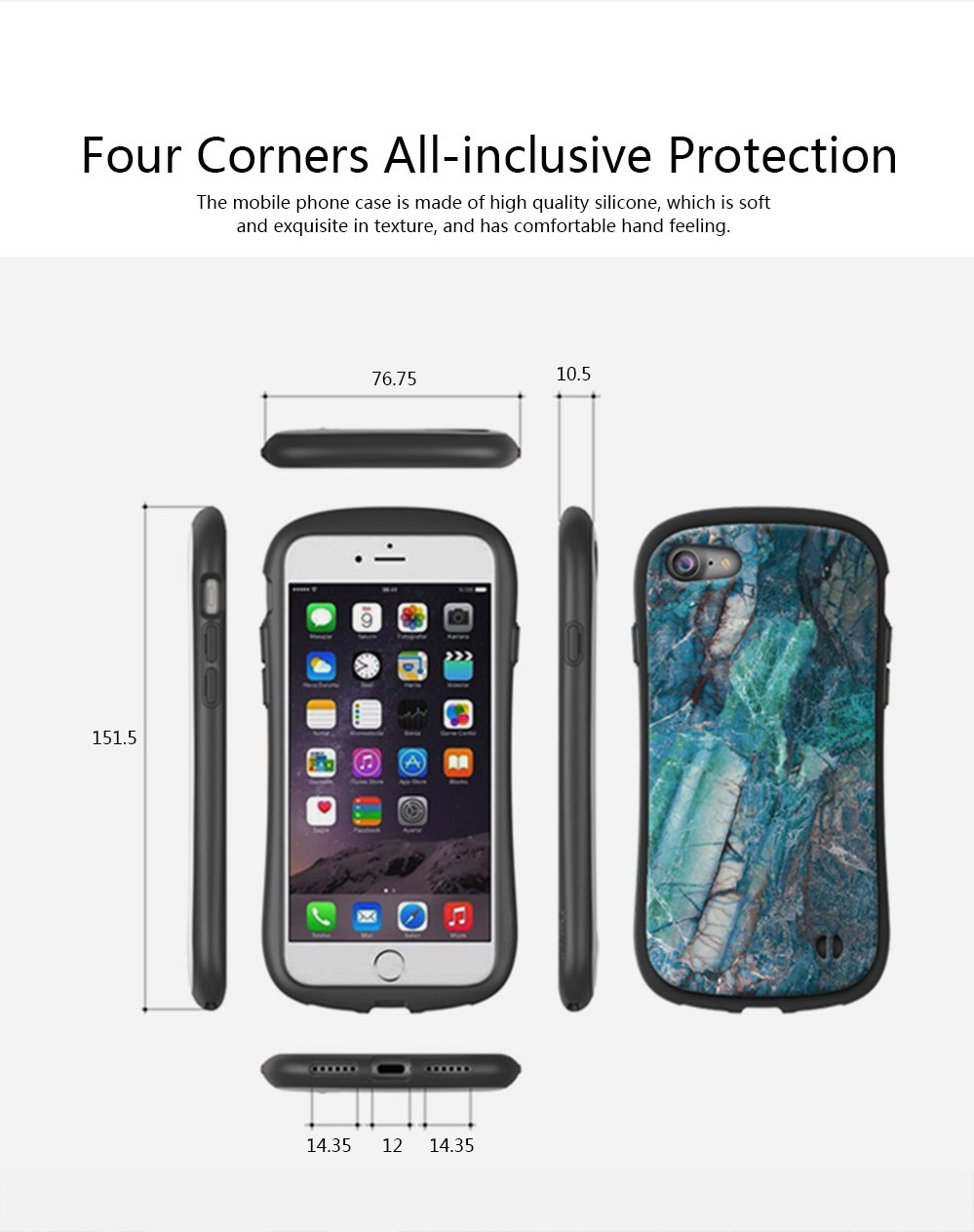 Creativity Silicone All-inclusive Fall Prevention Sling Mobile Phone Shell for iPhone 8 Plus & 7P & 6S 2