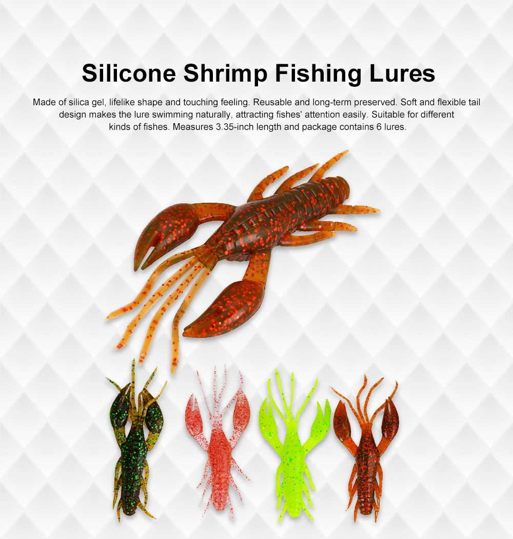Silicone Shrimp Fishing Lures Silica Gel Artificial Lure Shrimp Soft Crawfish Lures Fishing Lure Bait 0