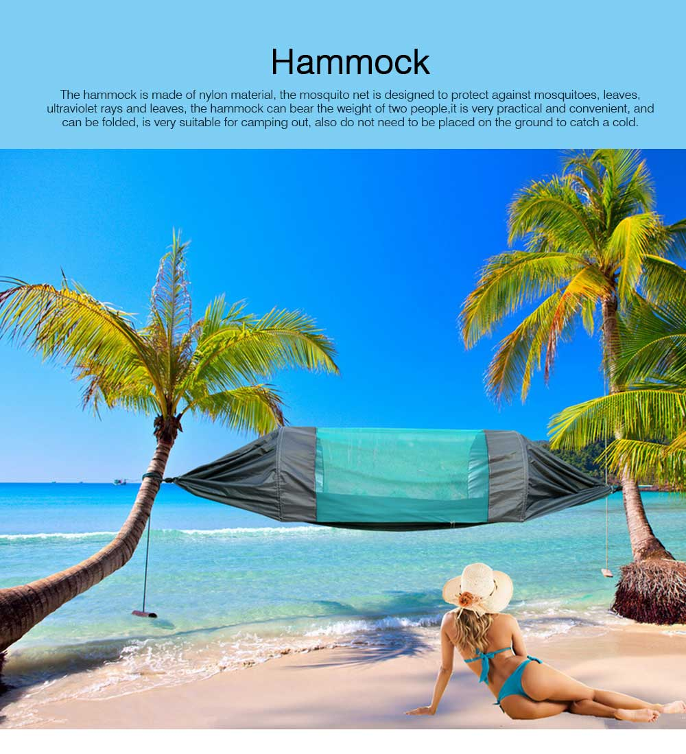 Outdoor Camping Hammock Nylon Material Enclose Style Parachute Cloth Anti-Mosquito Bed Net Ultraviolet-proof High-bearing for Two Peoples Hammock 0