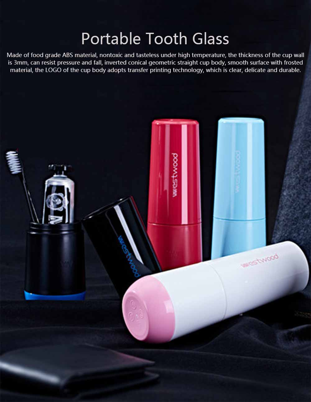 Wash Cup Set Food Grade ABS Portable Tooth Glass for Men and Women Travel Business Trip Toiletries 0