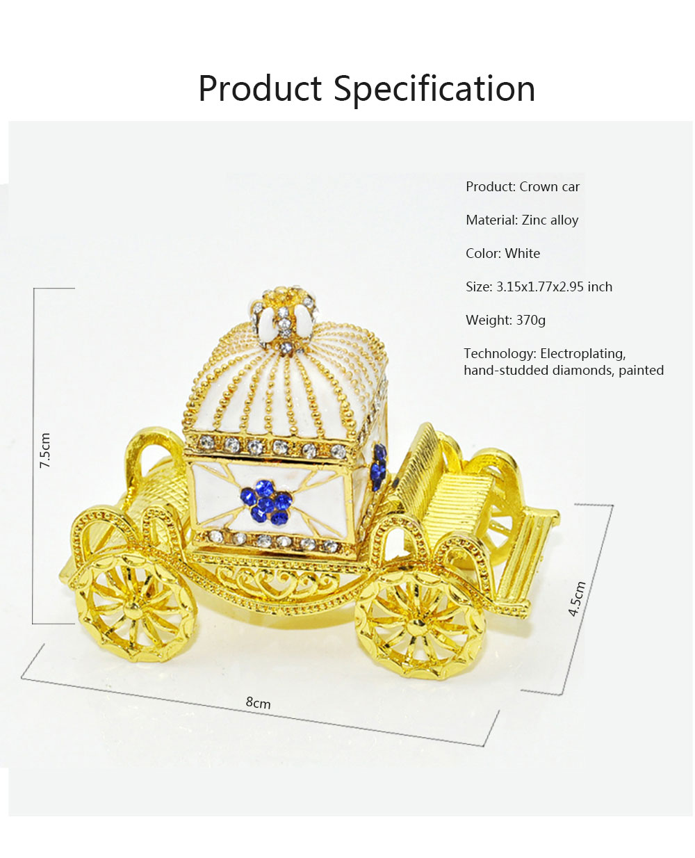 Diamond Crown Car European Enamel Painting Technology Creativity Metal Decoration for Home Valentine's Day Gift 6