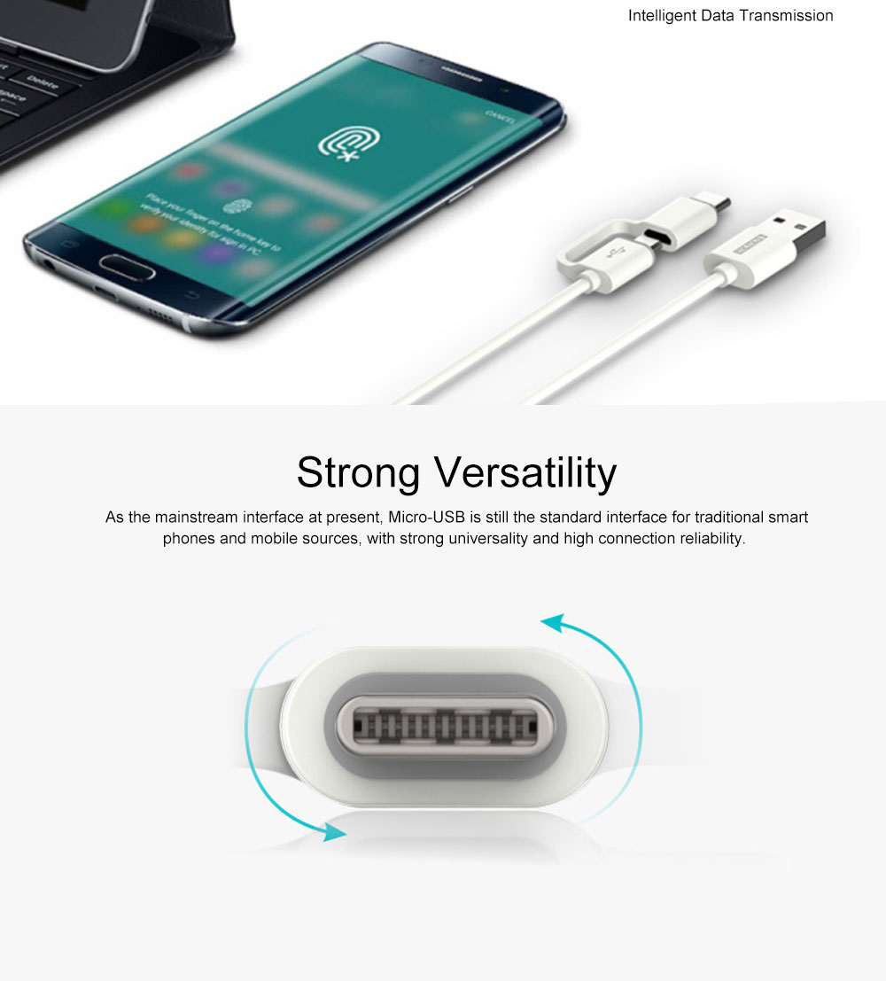 Data Cable Type-C & Micro-USB Two in One 2.1A TPE Data Cable Android Devices Universal 3