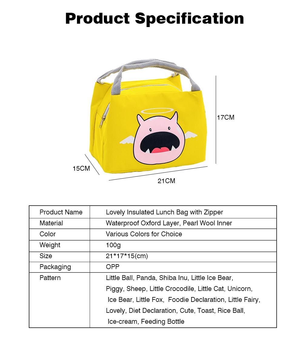 Cartoon Insulated Lunch Bag with Zipper, Small Size Cooler Bag Lunch Container for Outdoor Activities, School, Students, Children, Waterproof Lunch Tote Bag 8