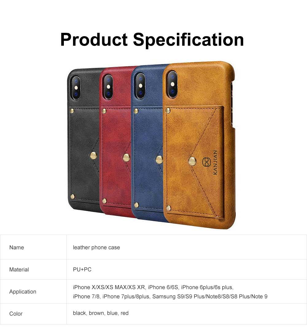 Premium Leather Phone Case Cover with Wallet, Cards Bag, Luxury Smooth PU+PC Case Cover for iPhone and Samsung 6