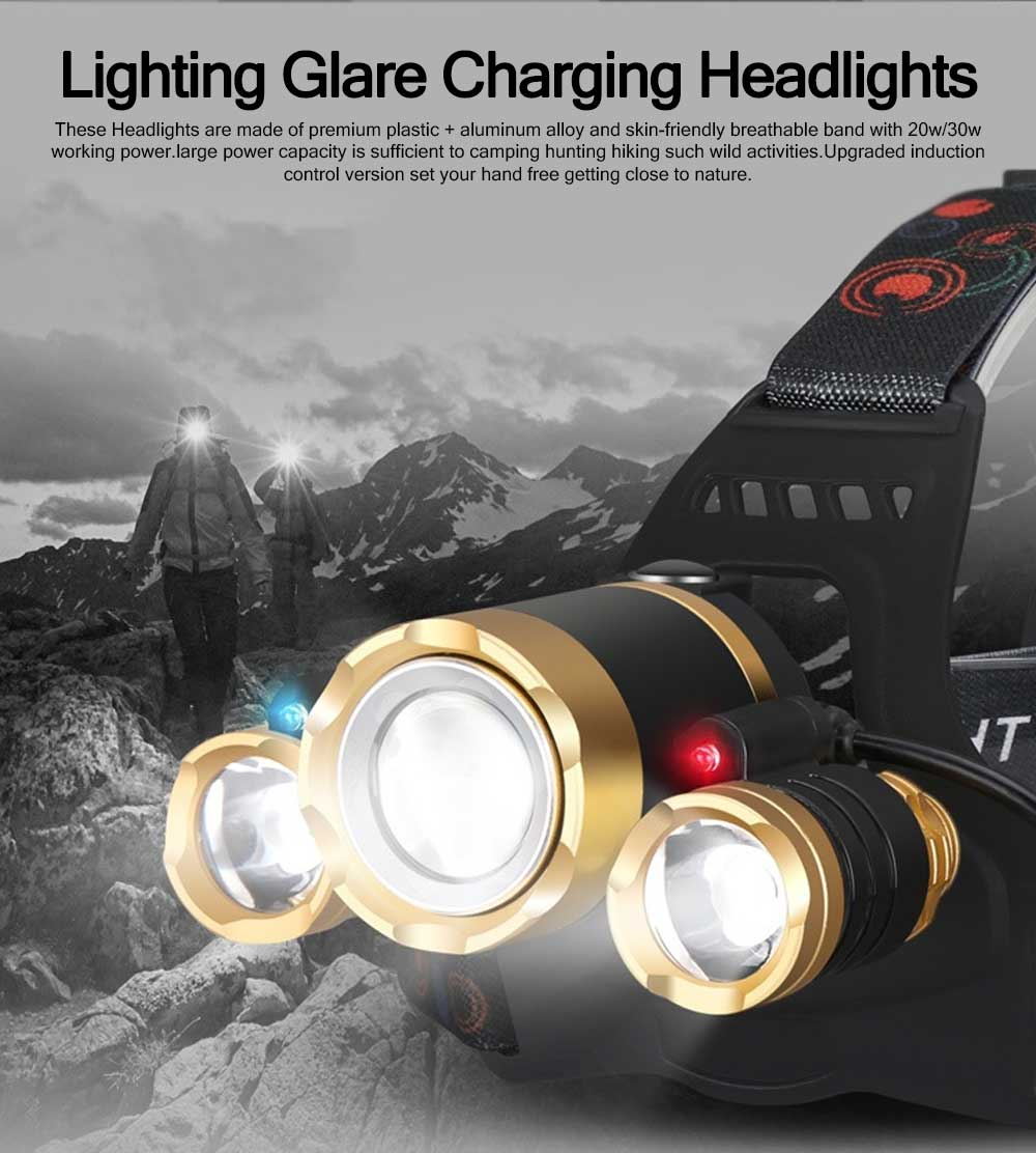 3 LED Outdoor T6 Lighting Glare Charging 30W Induction Headlight Lithium Battery Zoom Night Fishing Plane Headlights 0