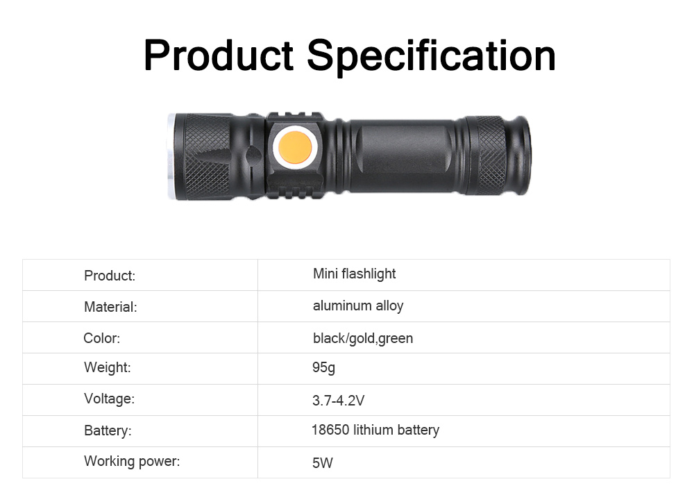 Outdoor LED Glare Lighting Mini Flashlight Night Riding Bicycle Light USB Charging T6 Waterproof Flashlight For Gift 6