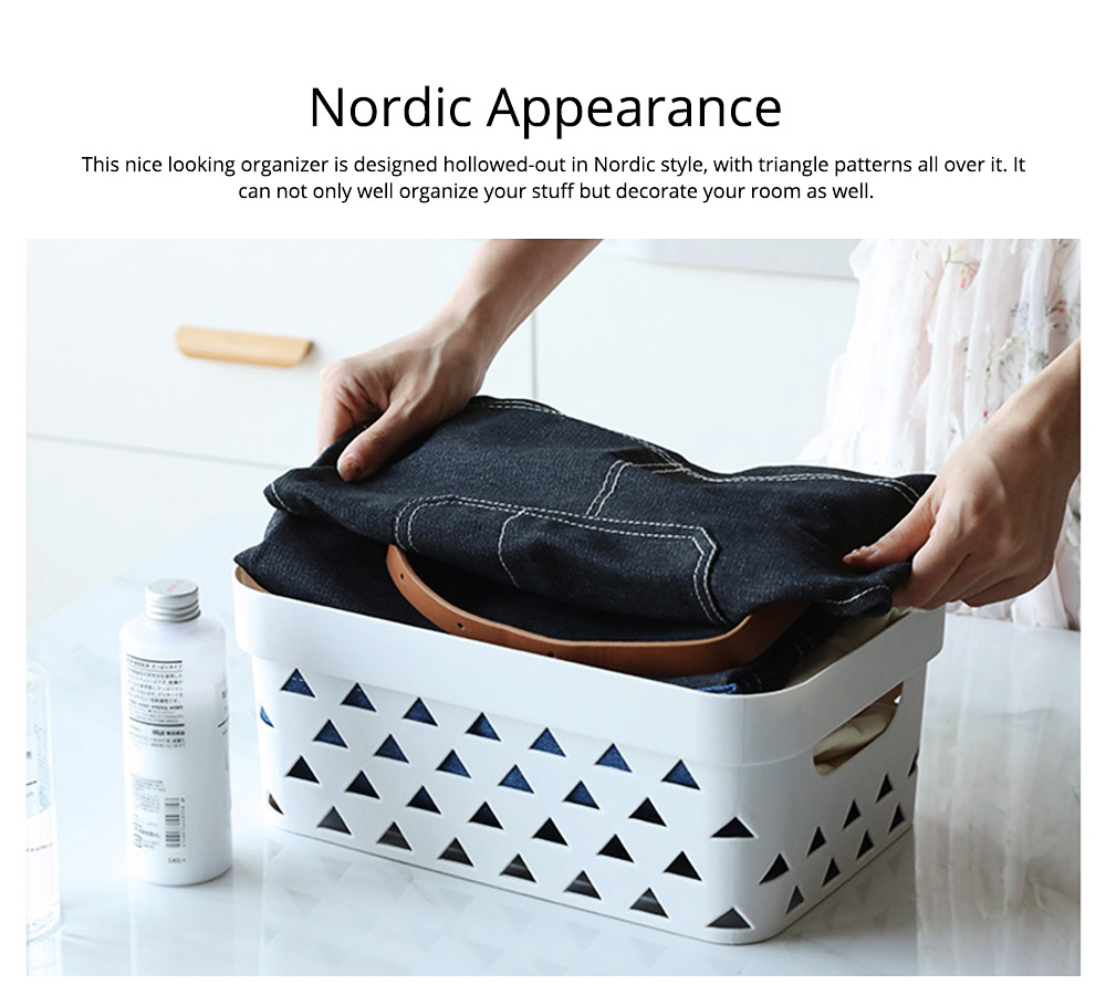 Nontoxic and Durable PP Plastic Storage Basket Multifunctional Hollowed-out Nordic Large Table Organizer With Top for Sundries, stationery and Clothes 2