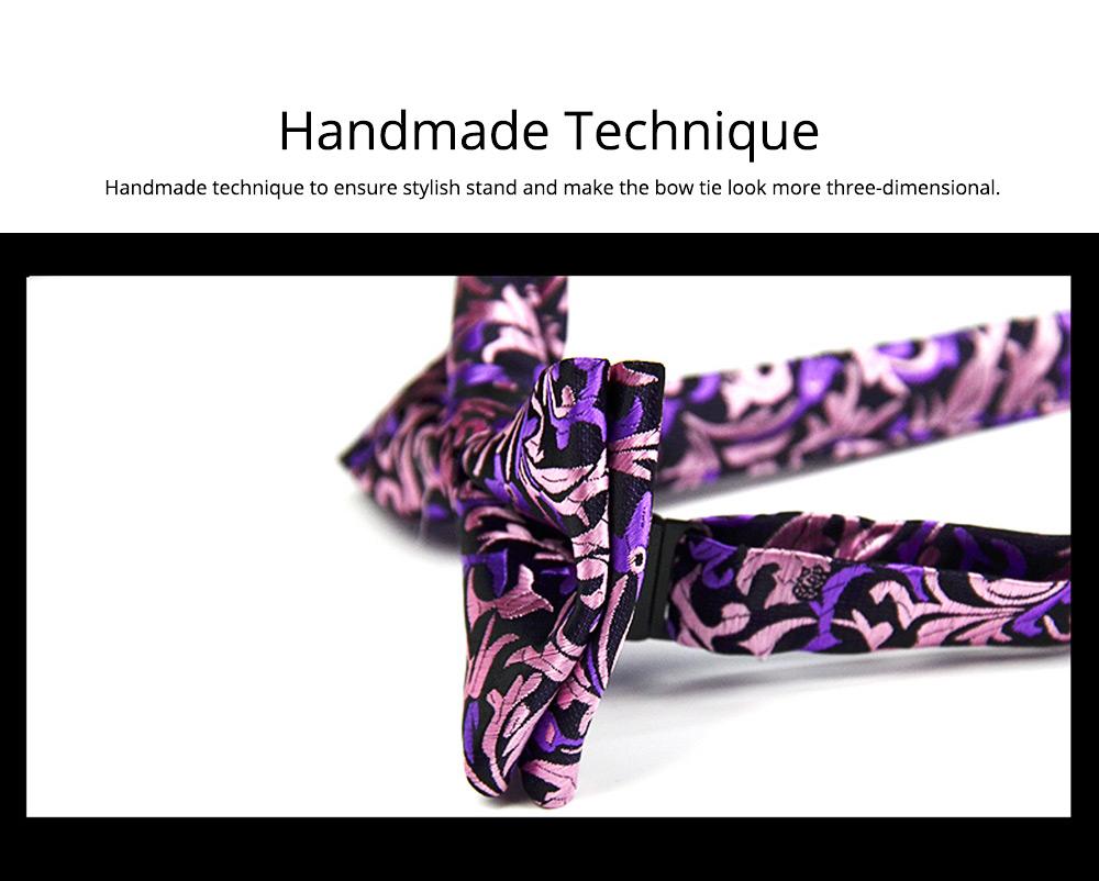 Bow Tie for Wedding Business Suit Fashionable British Style Elviro Tie Bridegroom Groomsman Used Bow Tie Purple Pink Tie European Pattern Design Tie 3