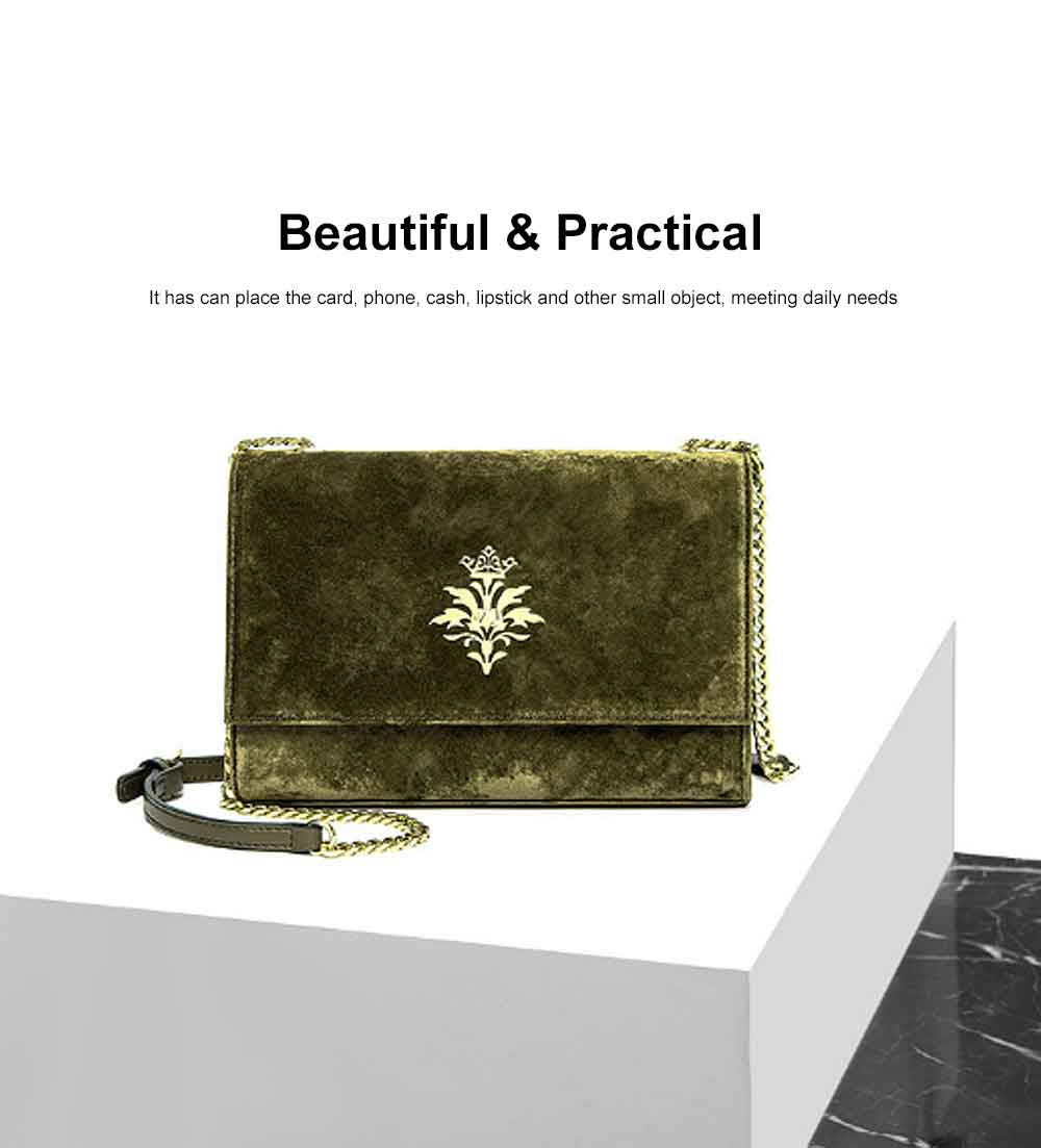 New Velvet Fashion Flip Cover Small Square Bag, Ladies Shoulder Bag, Autumn Winter, 2019 2