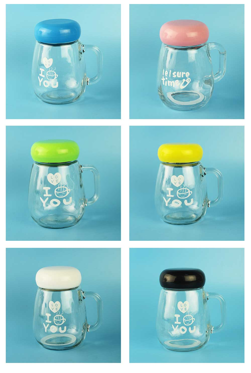 Glass Cup with Grip Handle, Cute Design Ideal for Students, Women,Girls, School Office Home Essential Glass Mug with Lid 5