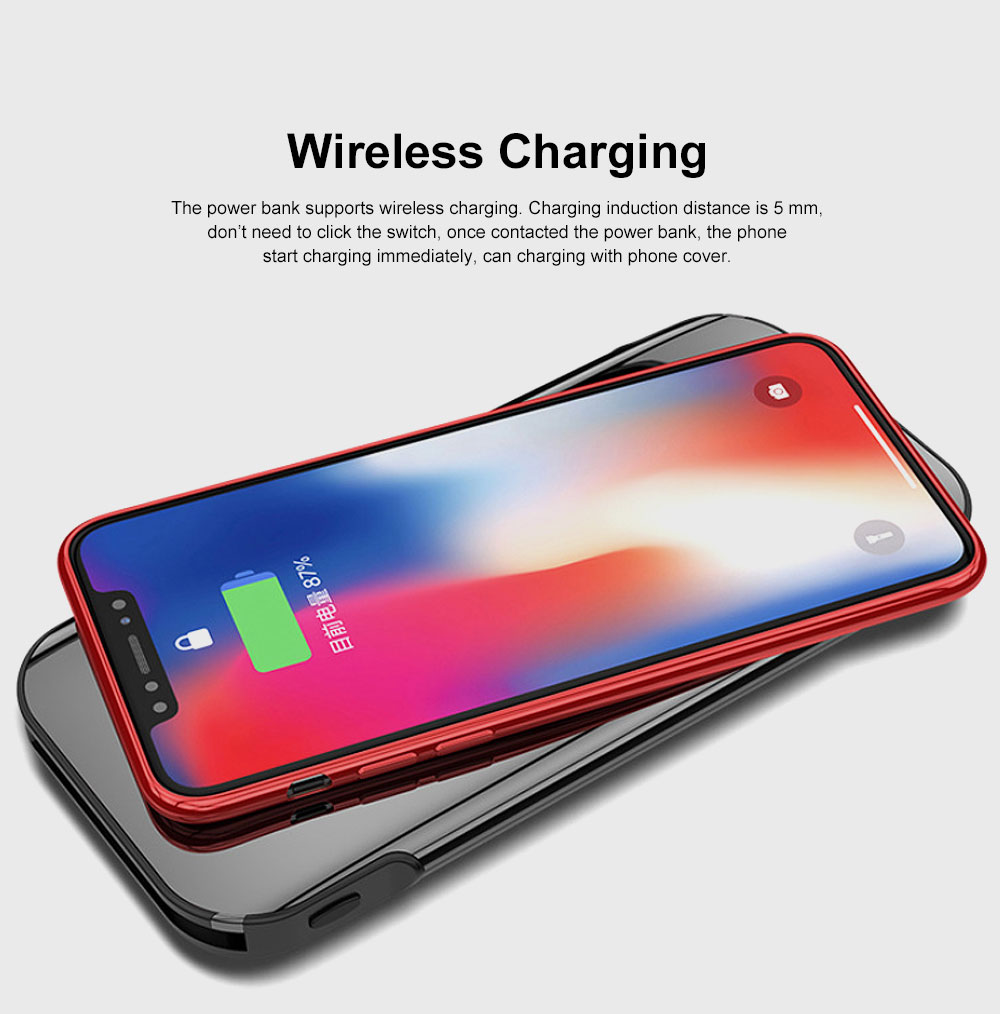 Ultra-thin 8000mAh Built-in Cable Mirror Digital Display Portable External Battery Charger Wireless Charging Power Bank for Cell Phone 6