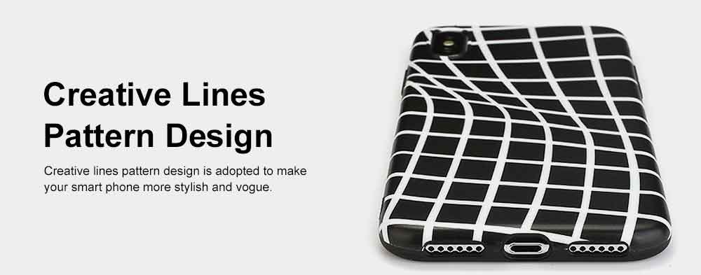 Creative Lines Mobile Phone Case, Grid Sanded Case Cover for iPhone, Luxury Soft Thin TPU Case, Minimalist Style 3