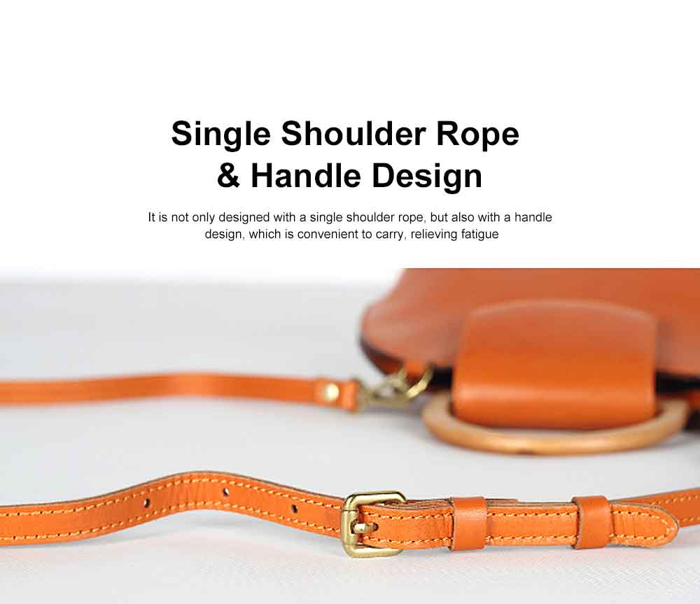 Leather Crossbody Bag, One-shoulder Retro Ladies Bag, with Metal Magnet Buttons with Single Shoulder Rope Handle Design 2