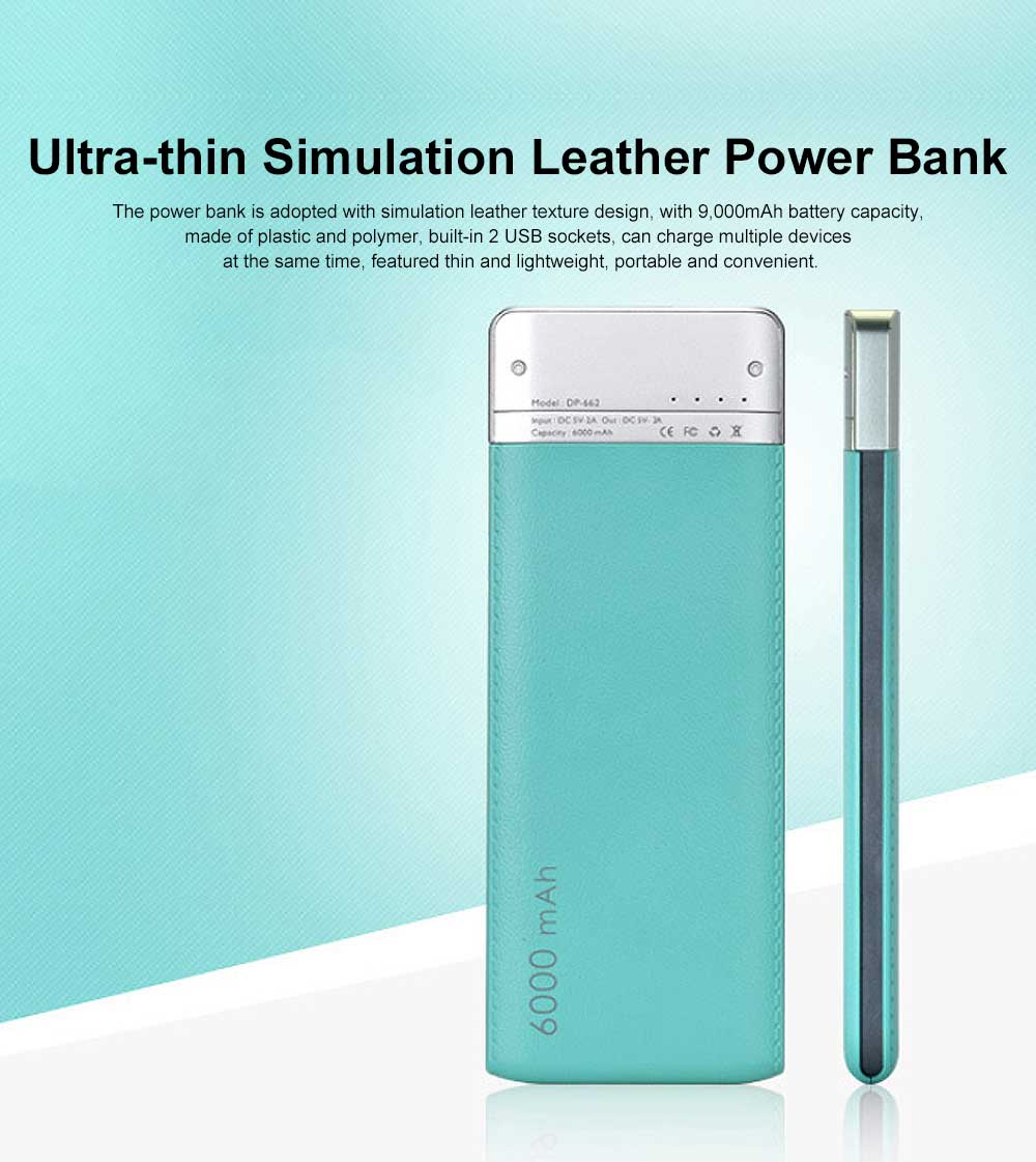 Ultra-thin Fresh Style Contrast Color Simulation Leather 6000mAh Portable External Battery Charger USB Power Bank for Cell Phone 0
