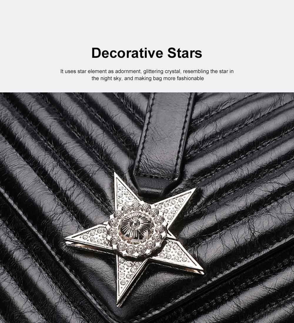 First Layer Cowhide Handbag, New Fashion Star Shoulder Diagonal Bag, with Metal Magnetic Buckle Design 1
