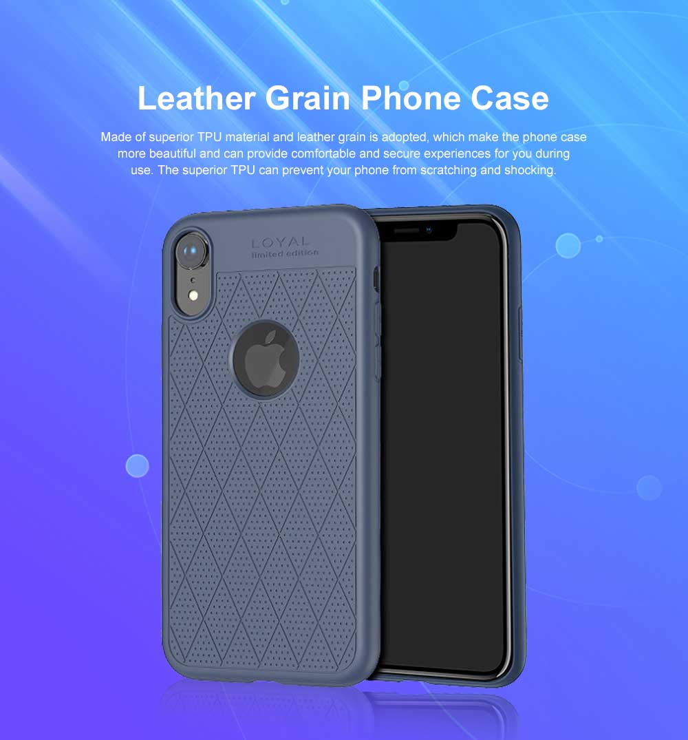 Leather Grain Phone Case, Luxury Ultra-thin Soft TPU Phone Case, Minimalist 360° Full Protection Case Cover for iPhone XS Max 0