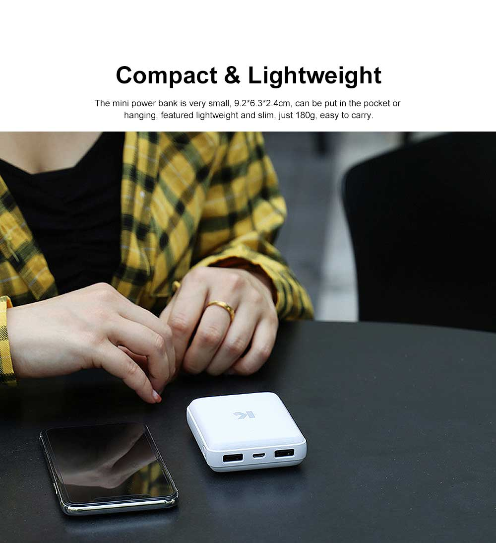 Exquisite Mini Black White Pocket External Battery Fireproof ABS Charger USB Power Bank for Cell Phone 10000mAh 1