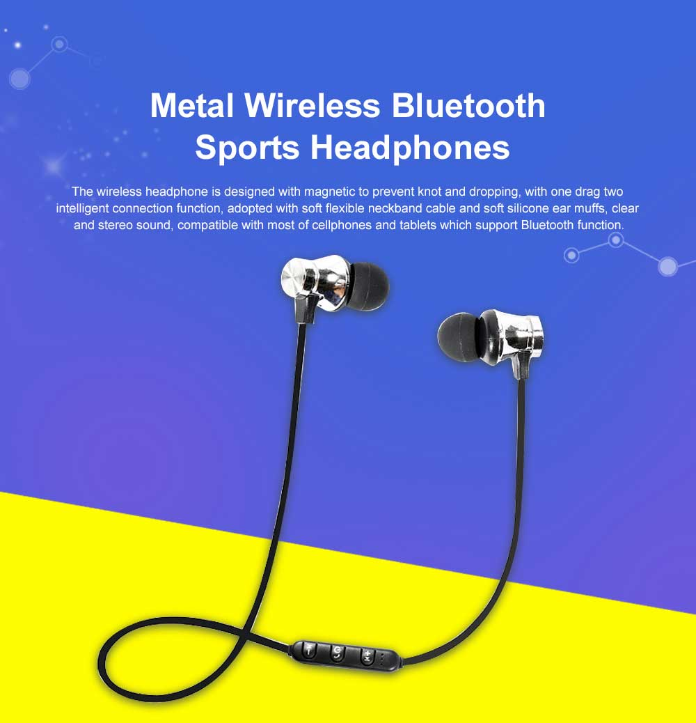 Metal Style Wireless Bluetooth Earphone Headphones In-ear Neckband Headset Sports Supplies For iPhone Samsung 0