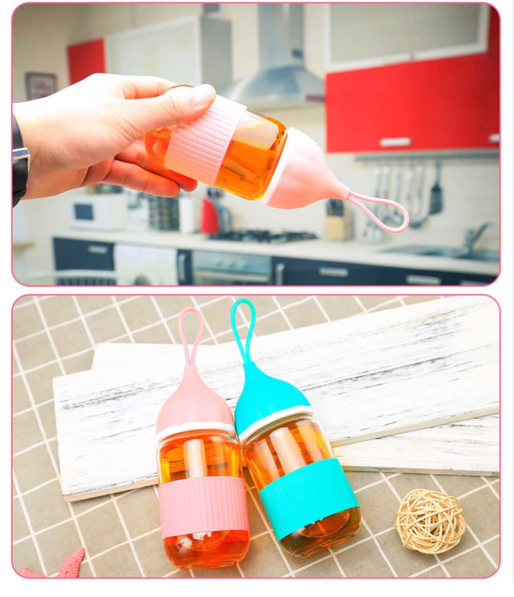 Colorful Glass Drinking Bottle for Students, Leakproof Botttle with Silicone Handle 5