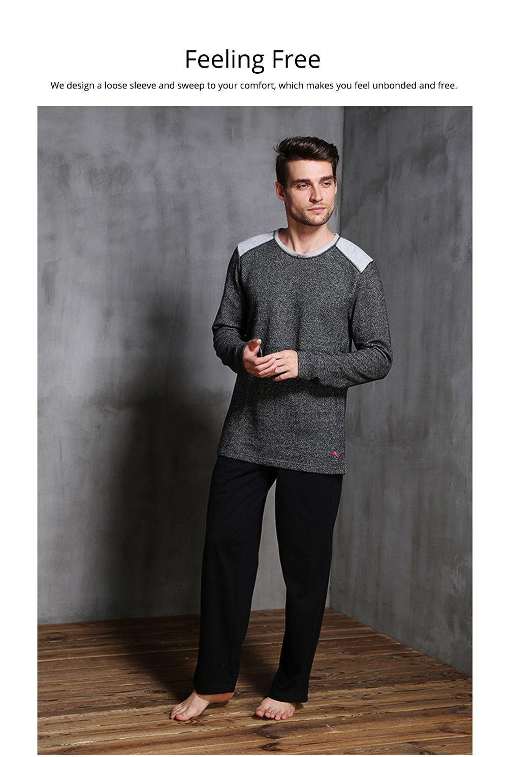 Foreign Trade Pajama for Men High Quality Soft Cotton Fabric Long Sleeves and Trousers Big and Tall Sleepwear 5