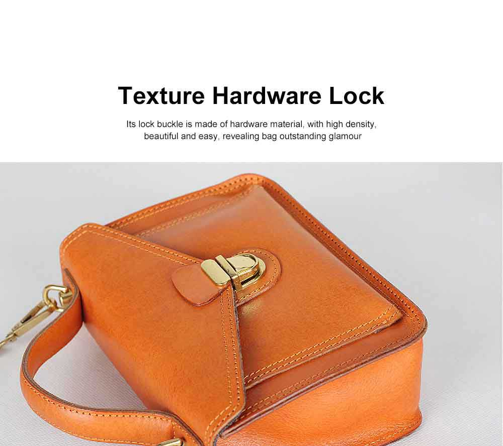Ladies Retro Shoulder Bag, Vegetable Tanned Leather Diagonal Small Square Bag, with Texture Hardware Lock 4