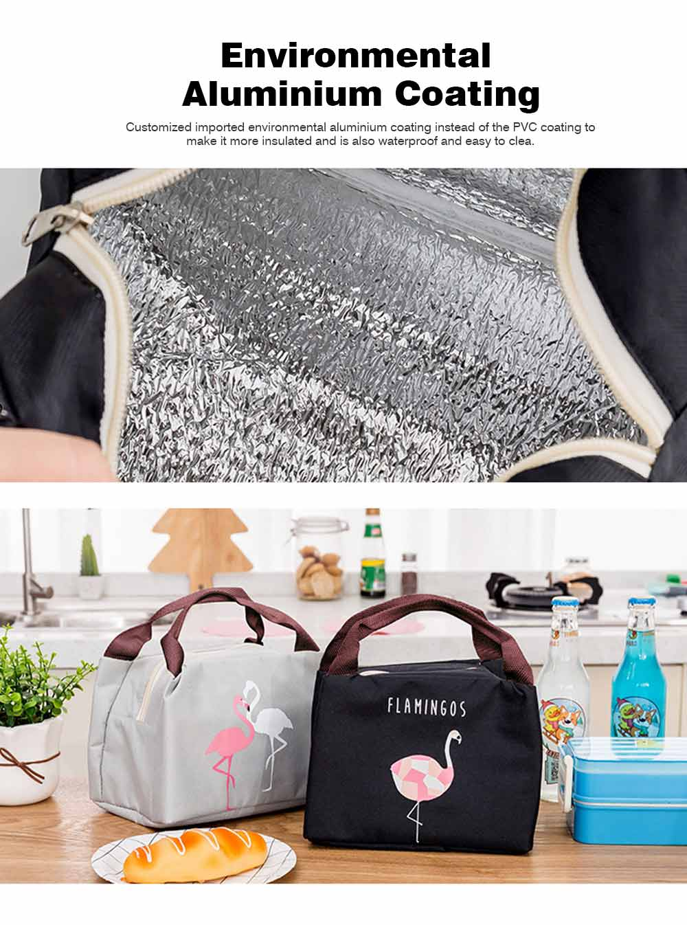 Cartoon Insulated Lunch Bag with Zipper, Cooler Bag Lunch Container for Outdoor Activities, School, Adults, Children, Waterproof Lunch Tote 4
