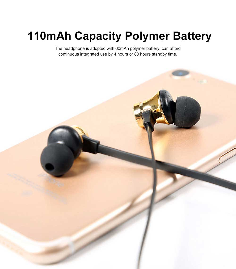 Metal Style Wireless Bluetooth Earphone Headphones In-ear Neckband Headset Sports Supplies For iPhone Samsung 4