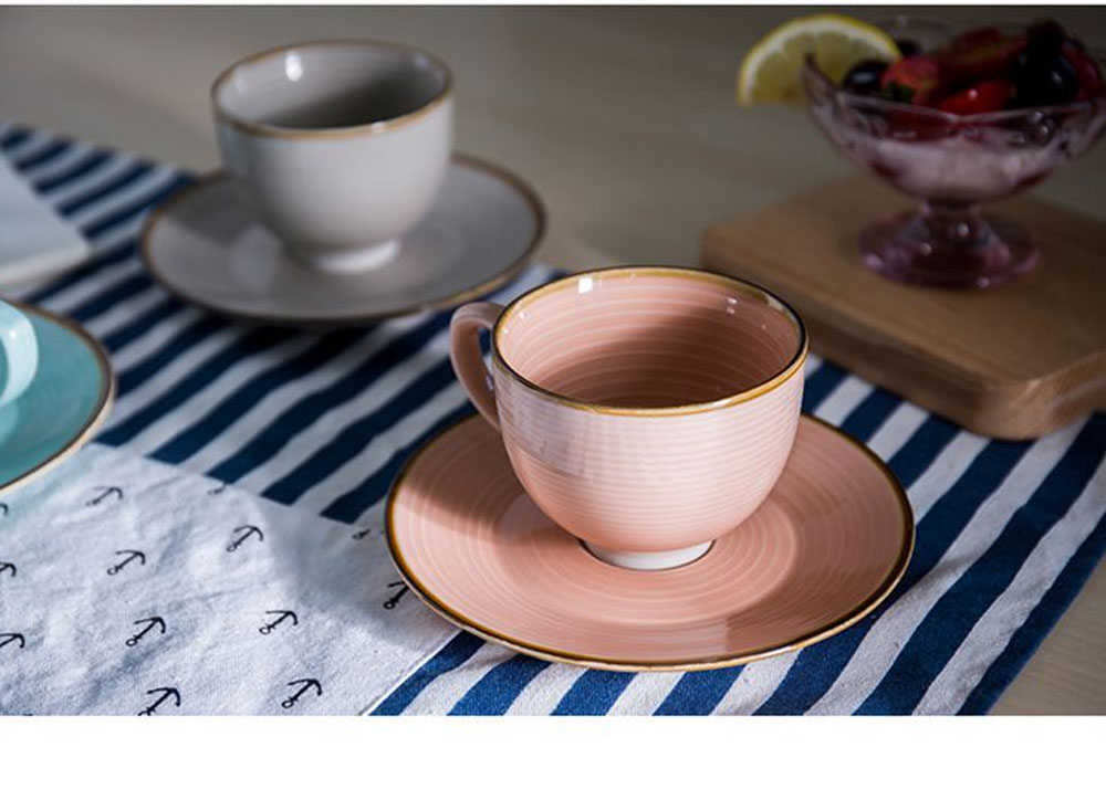 Ceramic Water Cup with Glaze, Cup with Freehand Sketching for Milk ,Coffee, Water, Japanese Style Cup with Saucer, Tea Cup Set, Two Piece Cup Set 4