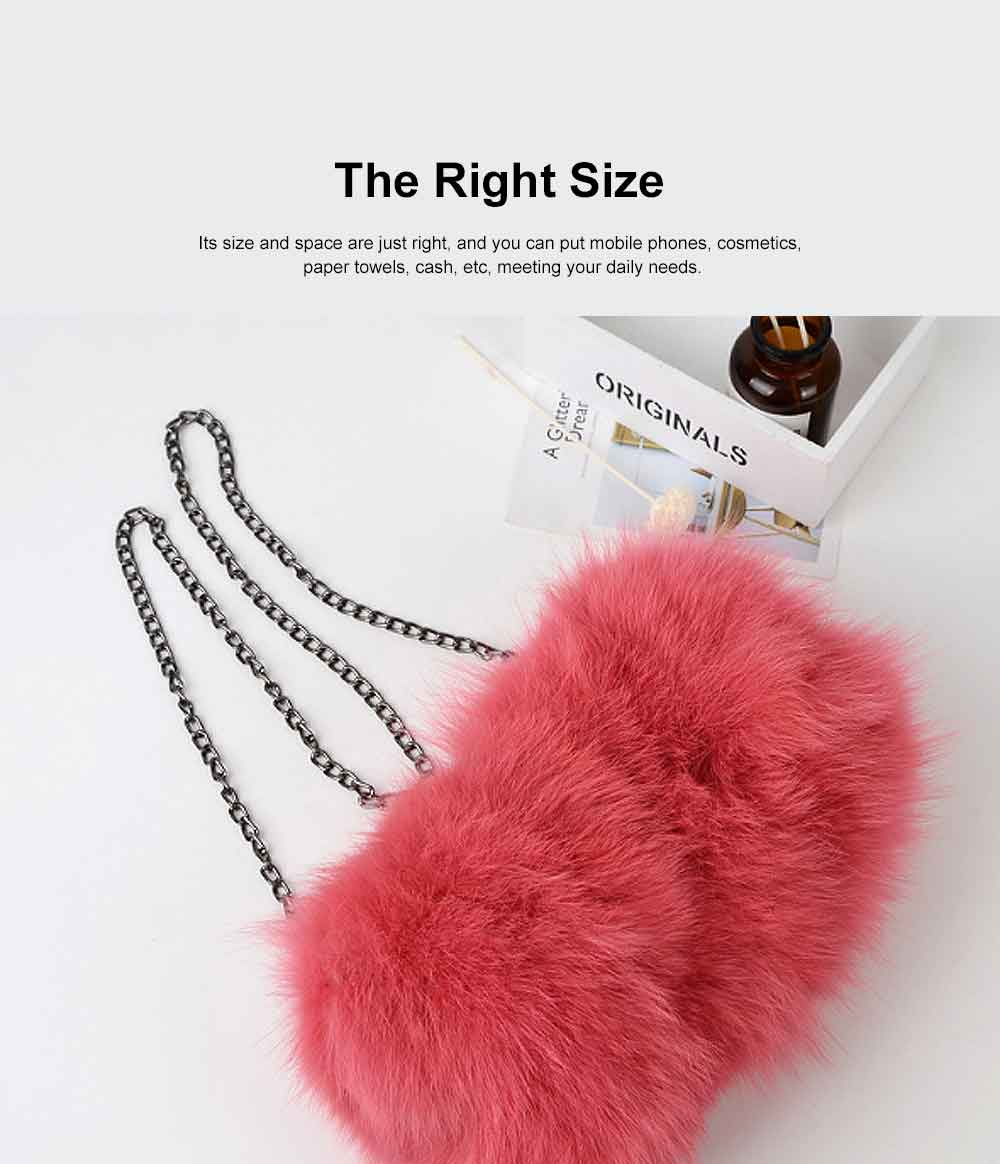Selected Fox Fur Ladies Shoulder Bag, Beautiful Diagonal Crossing Bag, with Shoulder Strap Buckle 3