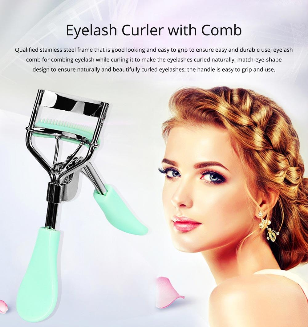Eyelash Curler with Comb for Beauty Makeup Stainless Steel Eyelash Curler Eyebrow Trimmer Eyebrow Tweezer Beauty Makeup Tools 0