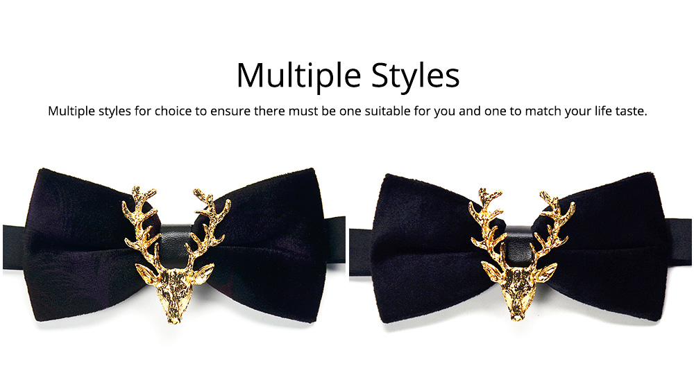 Bow Tie of Double Layer for Wedding Deer Head Decorative Accessory Bow Tie Fashionable British Style Elviro Tie Bridegroom Groomsman Used Bow Time 6