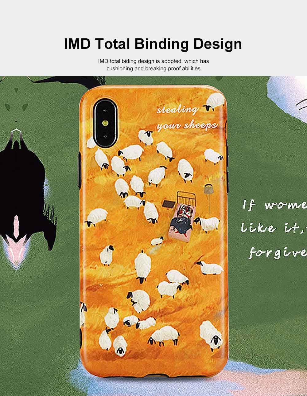 Minimalist Oil Painting Phone Case, Luxury Soft Sheep Case Cover for iPhone, Fresh Literary Style Total Binding TPU Case Cover 2