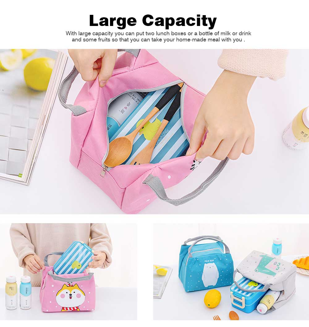 Cartoon Insulated Lunch Bag with Zipper, Small Size Cooler Bag Lunch Container for Outdoor Activities, School, Students, Children, Waterproof Lunch Tote Bag 1