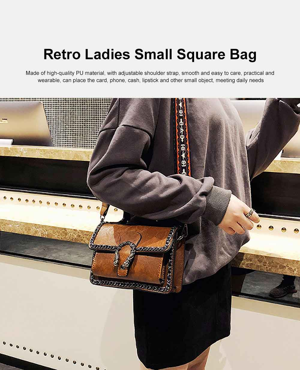 Retro Ladies Small Square Bag, Wild Wide Shoulder Bag, with Simple and Comfortable Portable Design 0