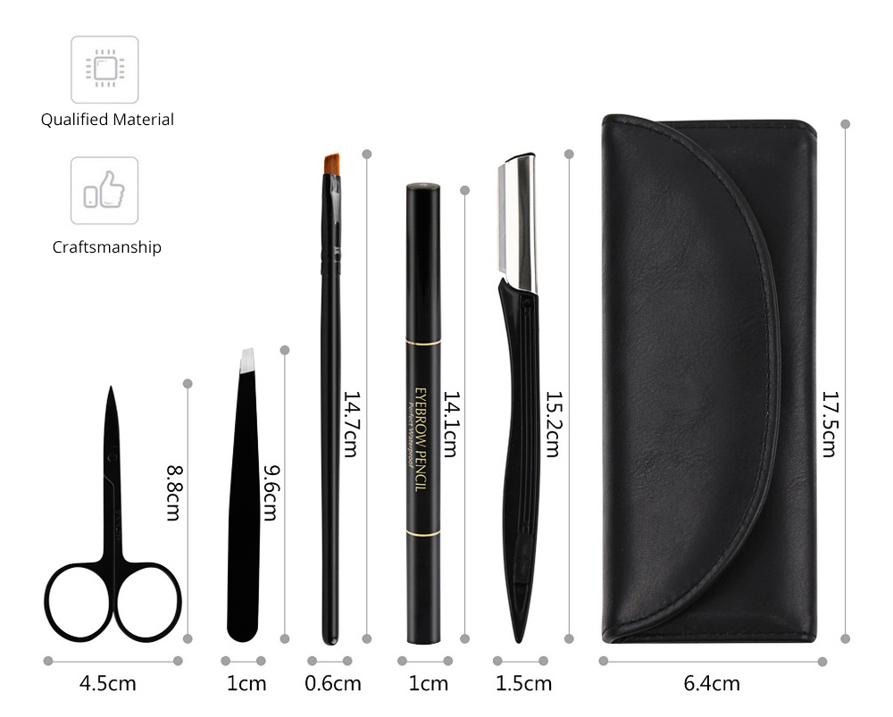 Eyebrow Trimmer Set for Gentleman Eyebrow Pencil Eyebrow Tweezer Complete Five-piece Set for Beauty Makeup Tools Beginner Waterproof Sweatproof Eyebrow Penciling Tools 2