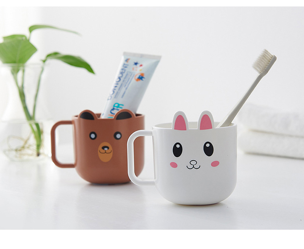 Cartoon Toothbrush Tumbler for Kids Children, Green PP Toothbrush Cup with Handle, Lovely Designed Dental Care Mug 6