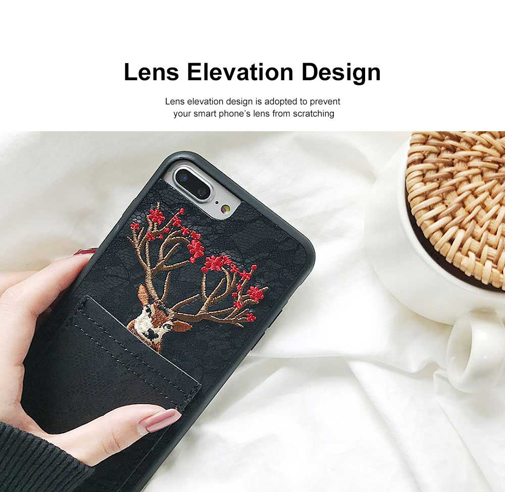Lovely Deer Phone Case for iPhone, Cartoon Lace Pattern Case Cover, Embroidery, Smocked Case Cover with Leather Pocket Decoration 3