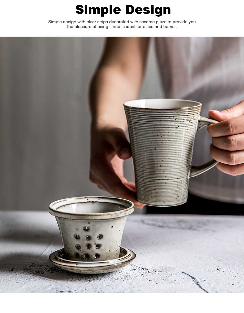 Ceramic Mug Cup with Filter Steepe Ideal for Office, Home, Glazed Mug Cup with Lid for Tea, Coffee, Porcelain Water Mug Cup 330ml 7
