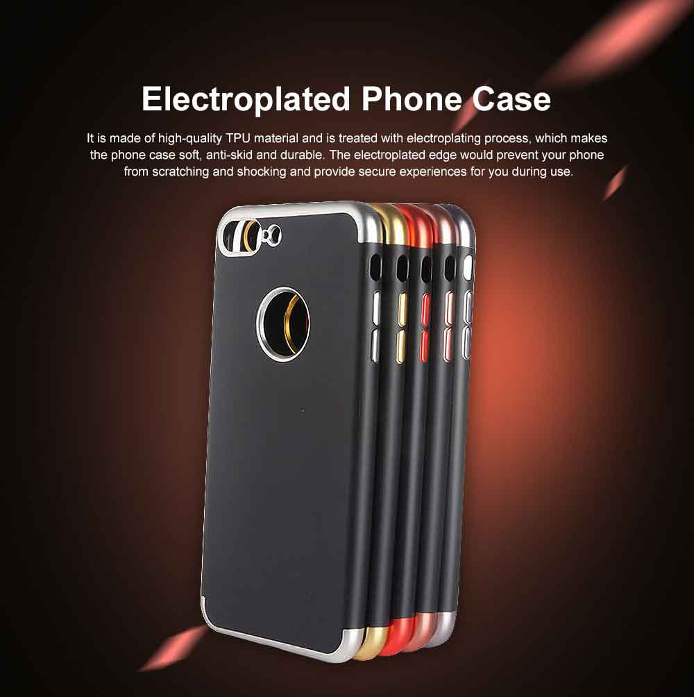 Electroplated Phone Case, Three-part Total Cladding Case Cover, Minimalist Soft TPU Phone Case for iPhone, Samsung 0