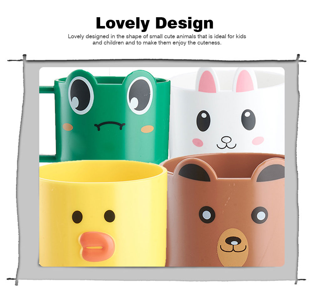 Cartoon Toothbrush Tumbler for Kids Children, Green PP Toothbrush Cup with Handle, Lovely Designed Dental Care Mug 1