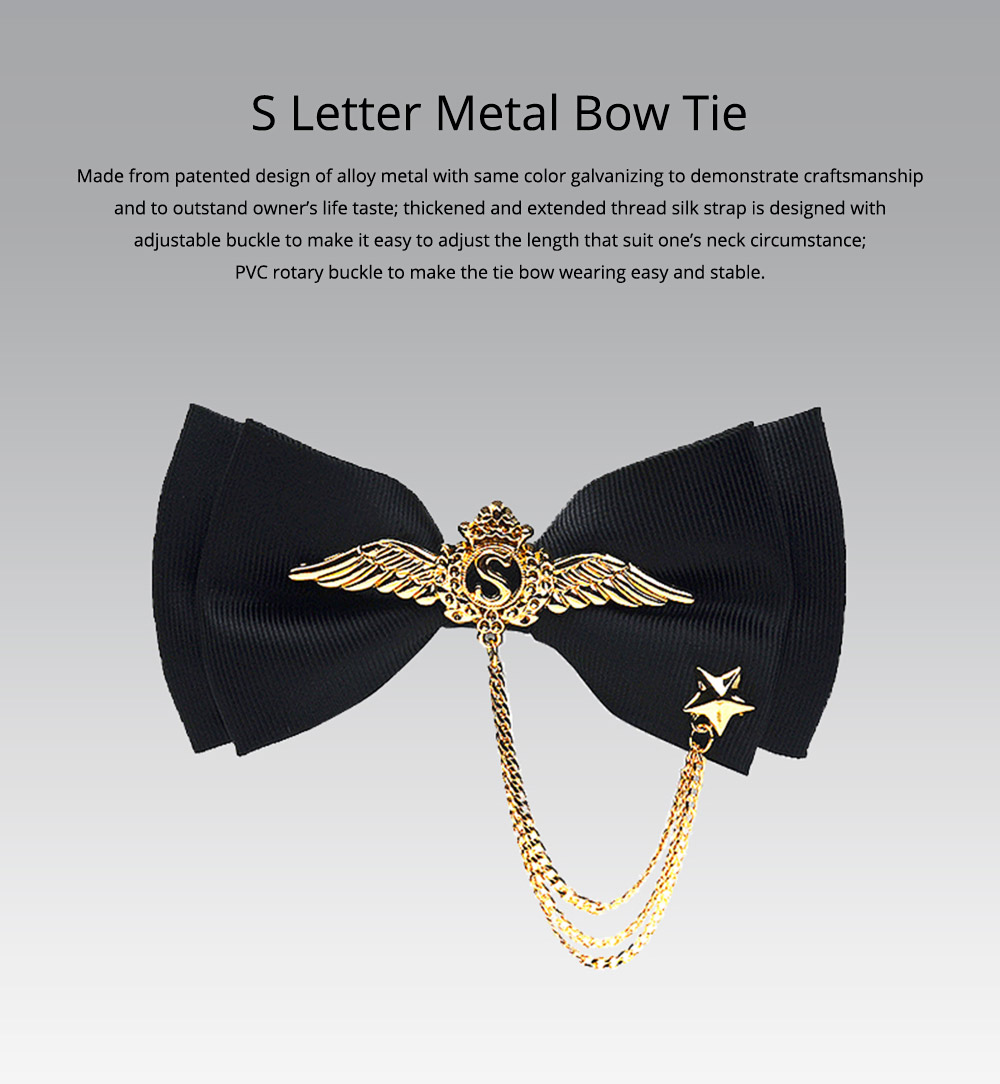 Bow Tie of Double Layer for Wedding S Metal Decorative Accessory Bow Tie Fashionable British Style Tie Bridegroom Groomsman Used 0